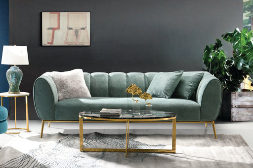 Jade Sofa in Bay Green Fabric with Gold Leg and Trim - Bay Green