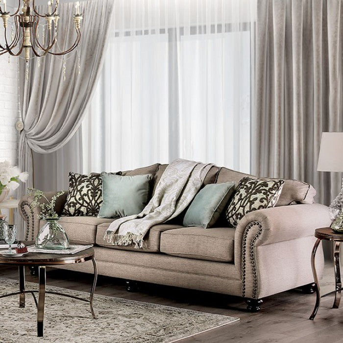 Jarauld Solid Wood Dark Taupe Fabric Transitional Sofa