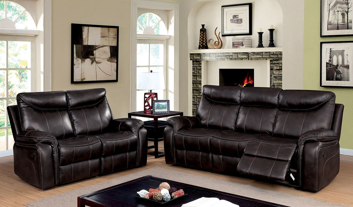 Karlee Breathable Leatherette Dark Brown Transitional Sofa
