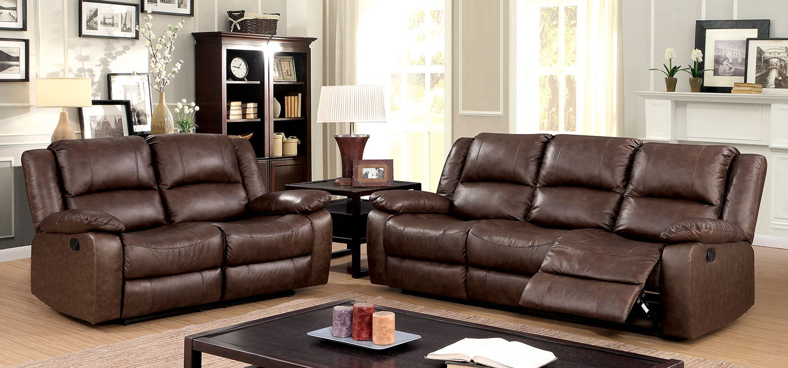 Kris Top Grain Leather Match Brown Transitional Sofa
