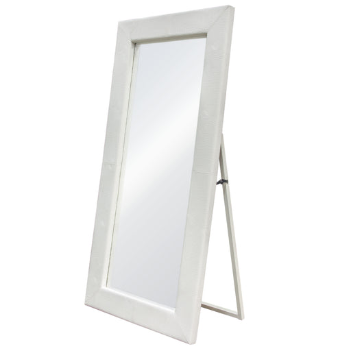 Luxe Free-Standing Mirror with Locking Easel Mechanism in White Croc PU - White