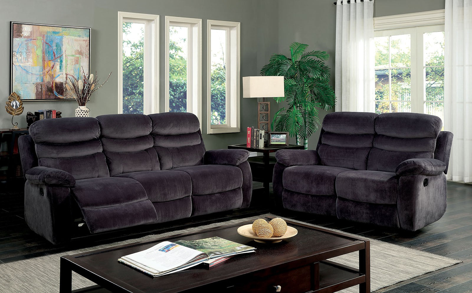 Leigh Polyester Dark Gray Transitional Sofa