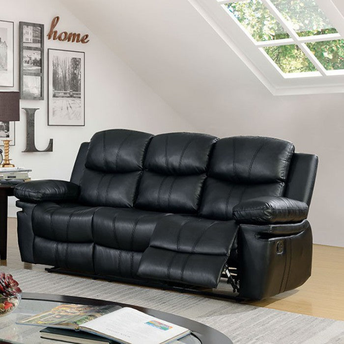 Listowel Bonded Leather Match Black Wood Traditional Sofa