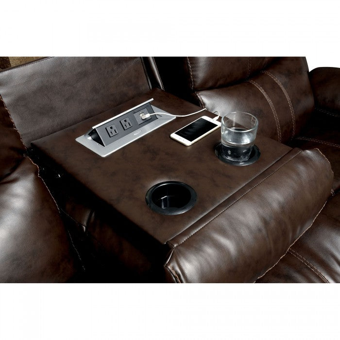 Listowel Bonded Leather Match Brown Transitional Sofa