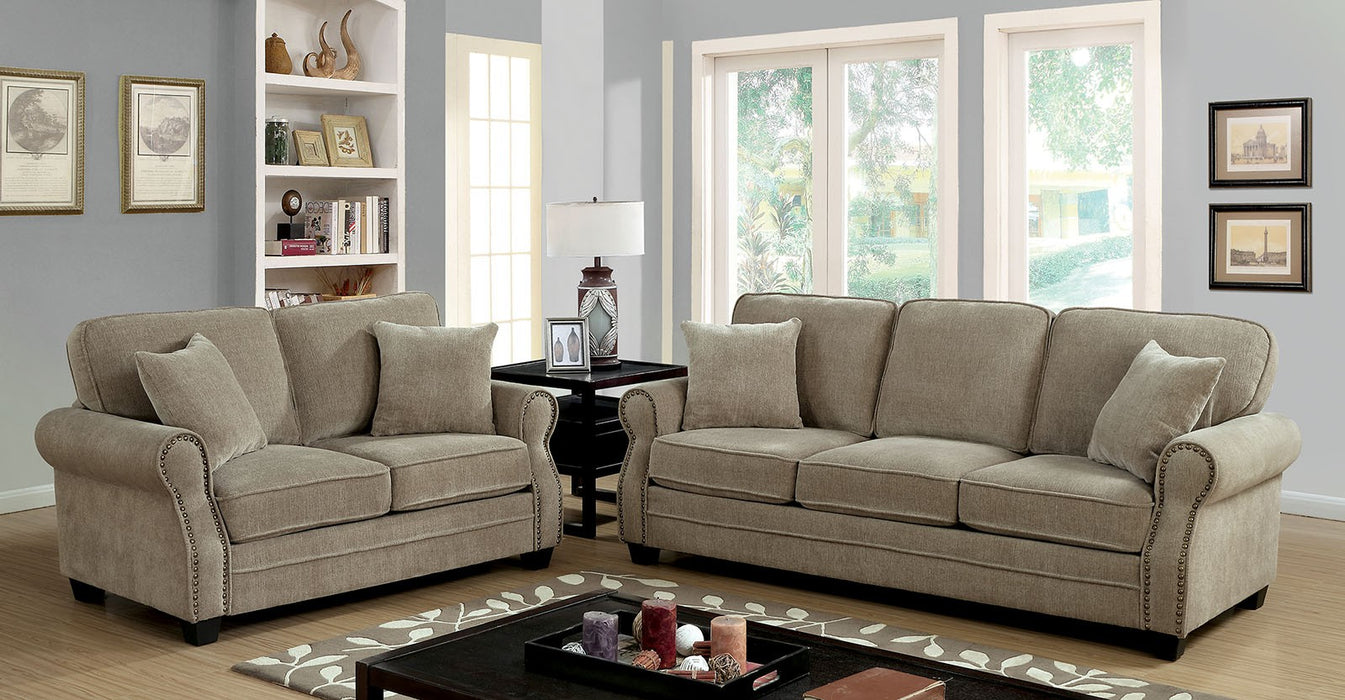 Lynne Chenille Beige Transitional Sofa