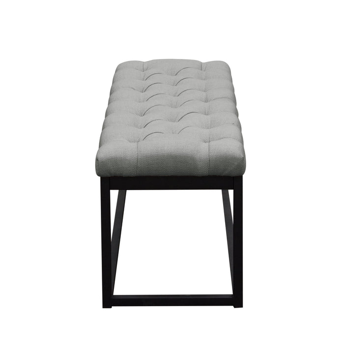 Mateo Black Powder Coat Metal Small Linen Tufted Bench - Grey