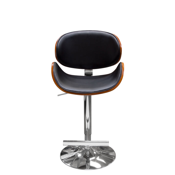 Midtown Hydraulic Adjustable Height Stool in Black PU with Molded Bamboo Seat - Black