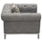 Monroe Tufted Chair in Grey Linen Fabric with Brushed Stainless Steel Trim and Leg - Grey