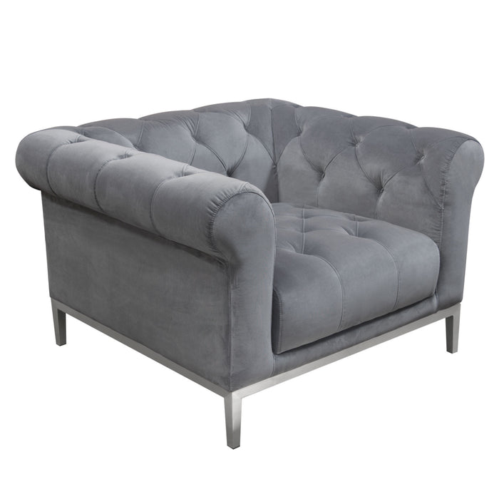 Monroe Tufted Chair in Royal Platinum Grey Velvet with Brushed Stainless Steel Trim and Leg - Grey