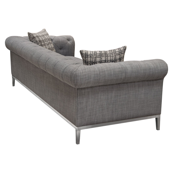 Monroe Tufted Sofa in Grey Linen Fabric with Brushed Stainless Steel Trim and Leg - Grey