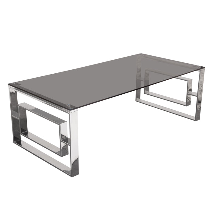 Muse Rectangular Cocktail Table with Smoked Tempered Glass Top - Stainless