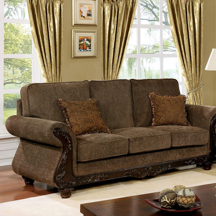 Margarita Fabric Brown/Dark Cherry Traditional Sofa
