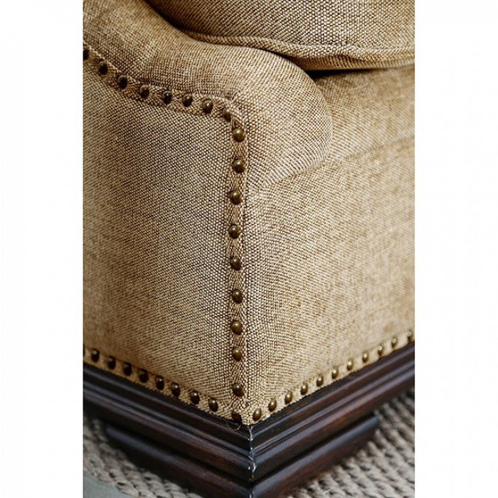Matilde Tan/Dark Oak Traditional Sofa