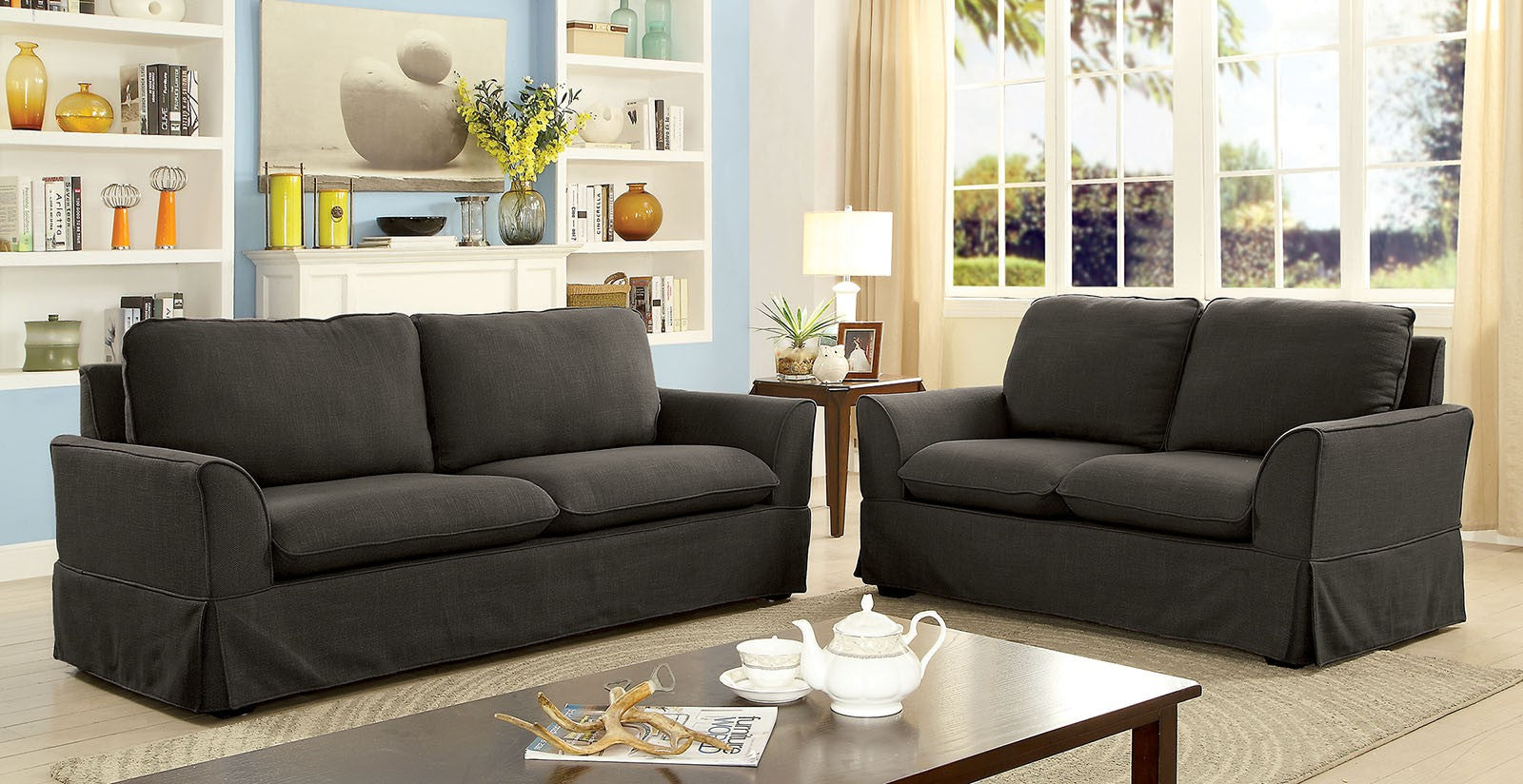 Maxine I Linen-Like Fabric Gray Transitional Sofa