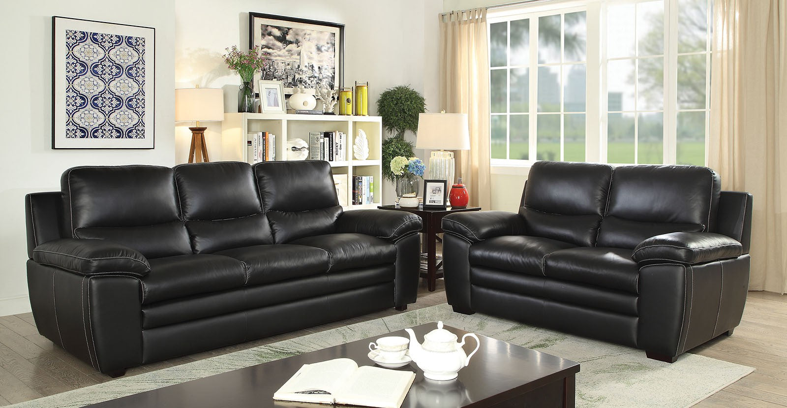 Mirielle Top Grain Leather Match Black Contemporary Sofa