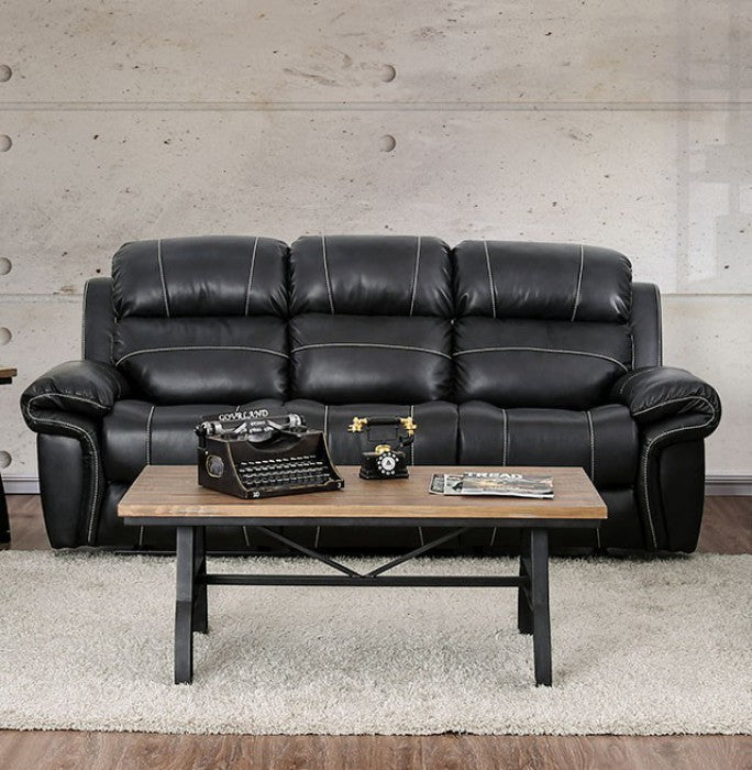 Montserrat Breathable Leatherette Black Traditional Sofa