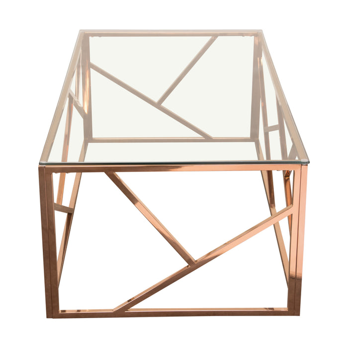 Nest Rectangular Cocktail Table with Clear Tempered Glass Top - Rose Gold