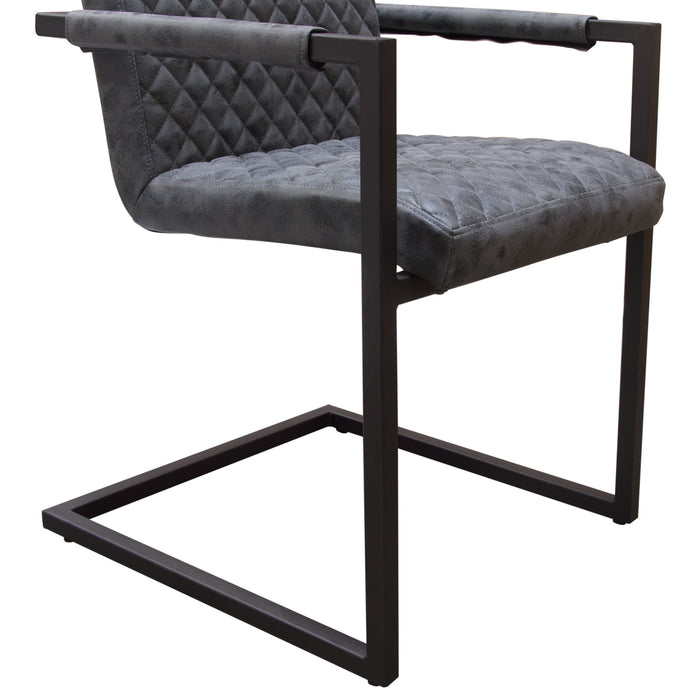 Nolan 2-Pack Dining Chairs in Charcoal Diamond Tufted Leatherette on Charcoal Powder Coat Frame - Charcoal
