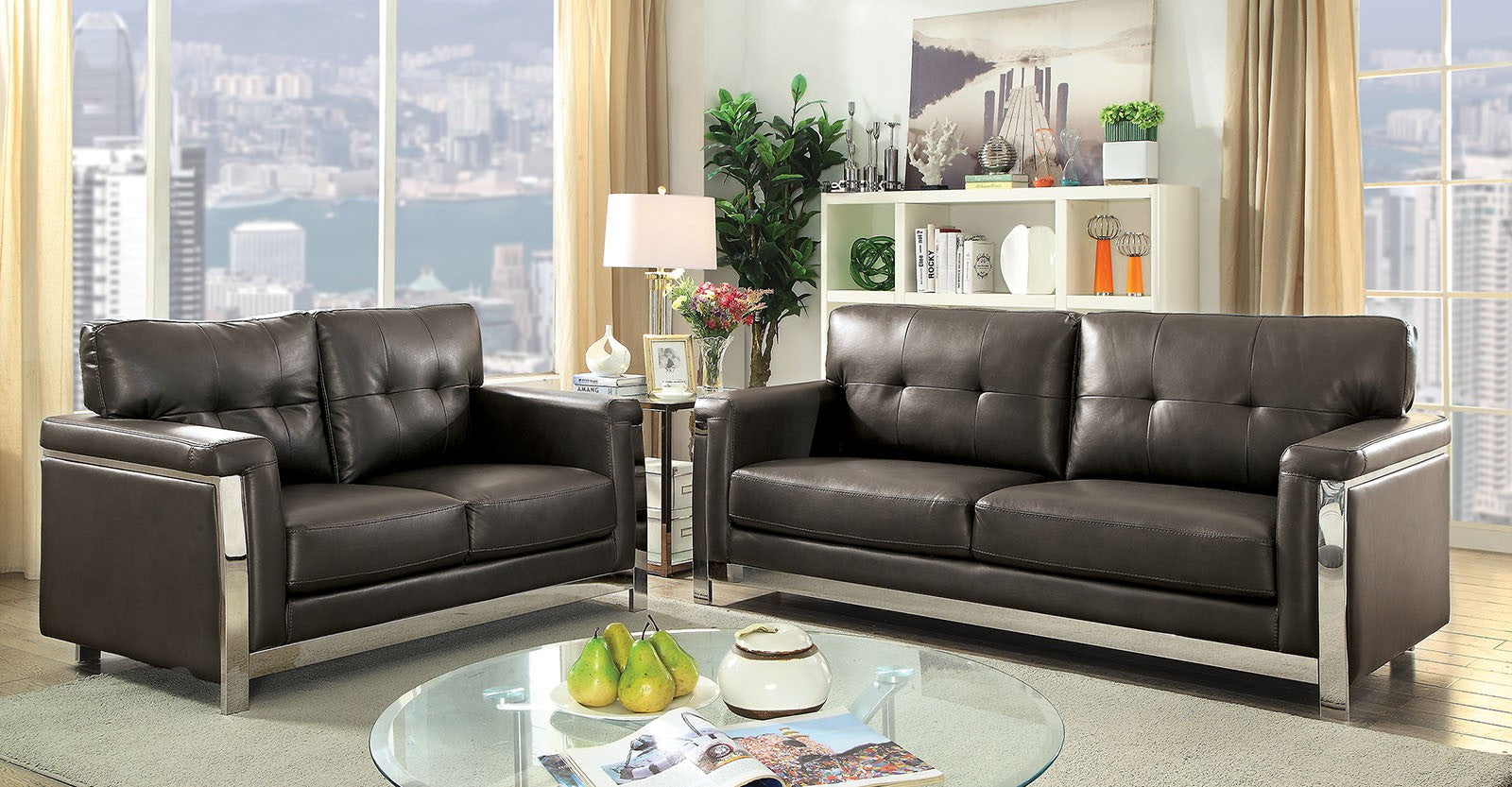 Nanette Leather Gel Gray/Chrome Contemporary Sofa