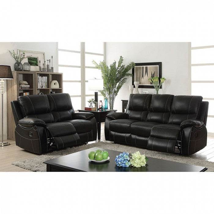 Nena Top Grain Leather Match Black Contemporary Sofa