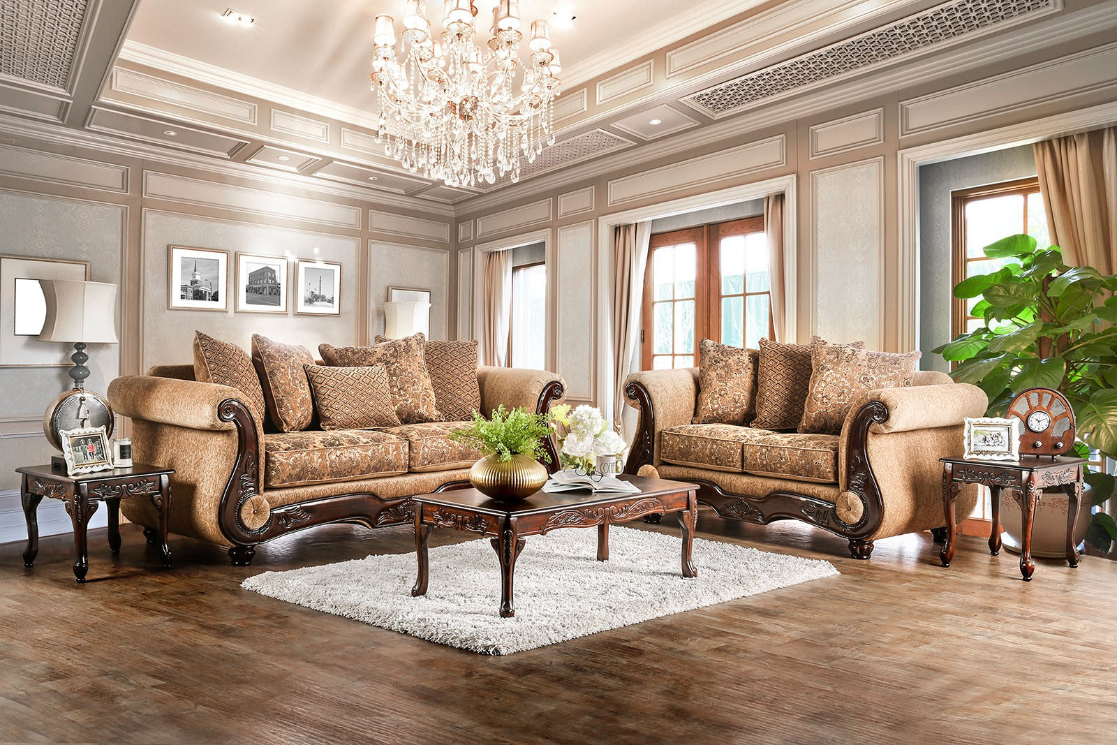 Nicanor Chenille Tan/Gold Traditional Sofa