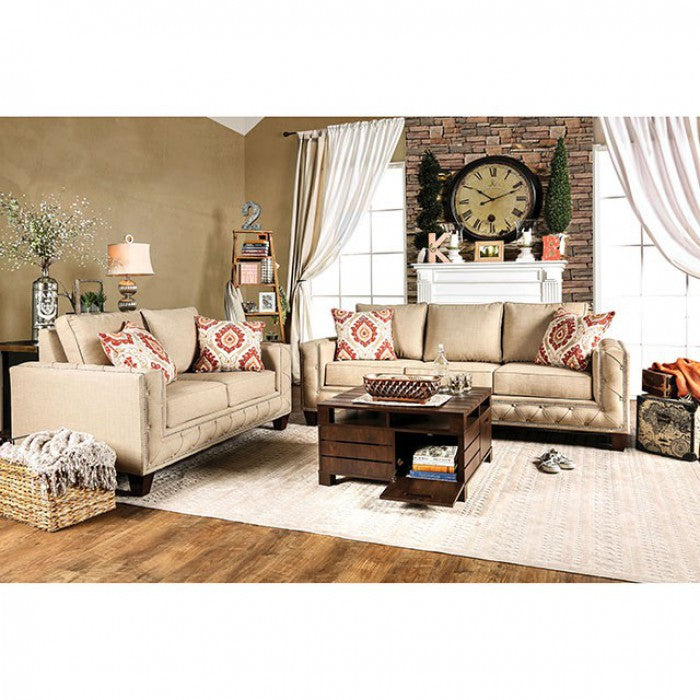 Norwick Fabric Beige Transitional Sofa