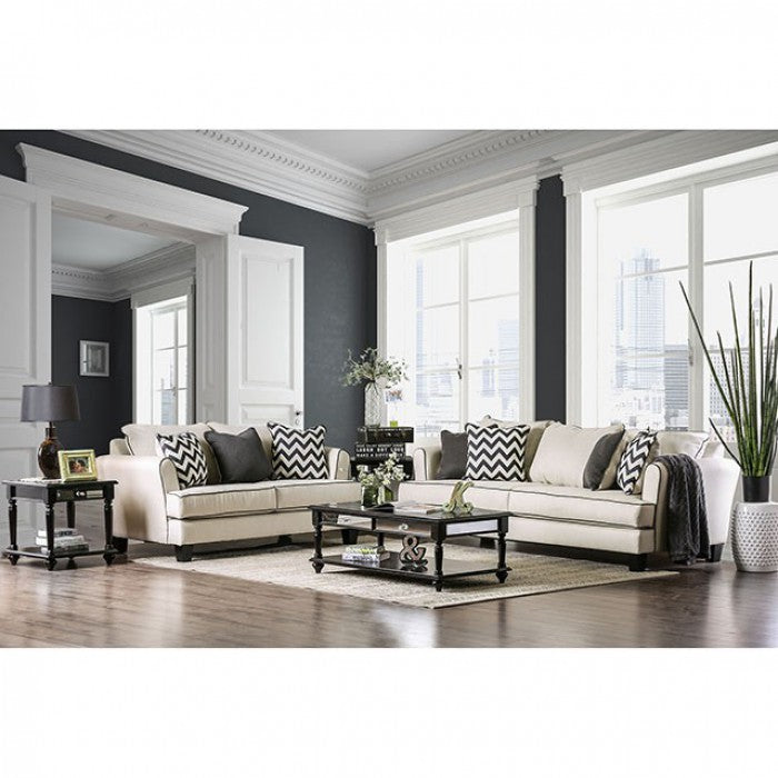Percey Premium Fabric Off-White/Black Transitional Sofa