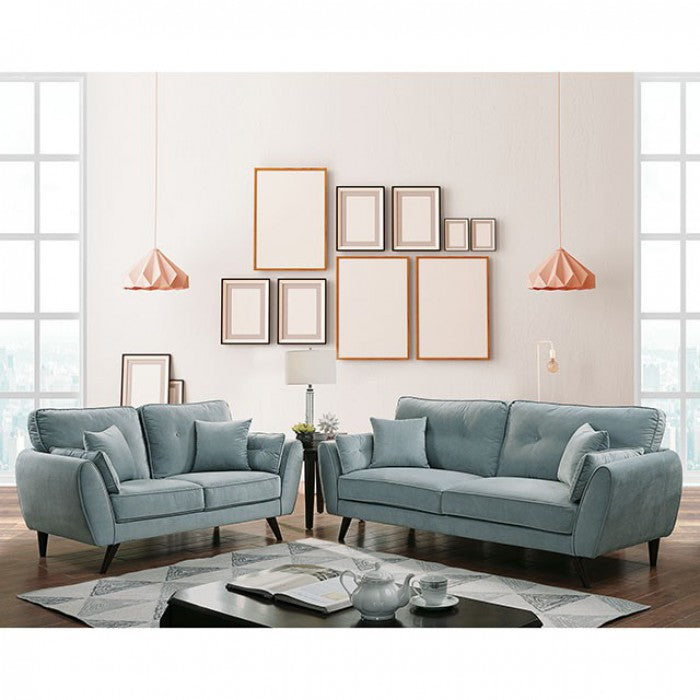 Phillipa Flannelette Light Teal Wood Contemporary Sofa