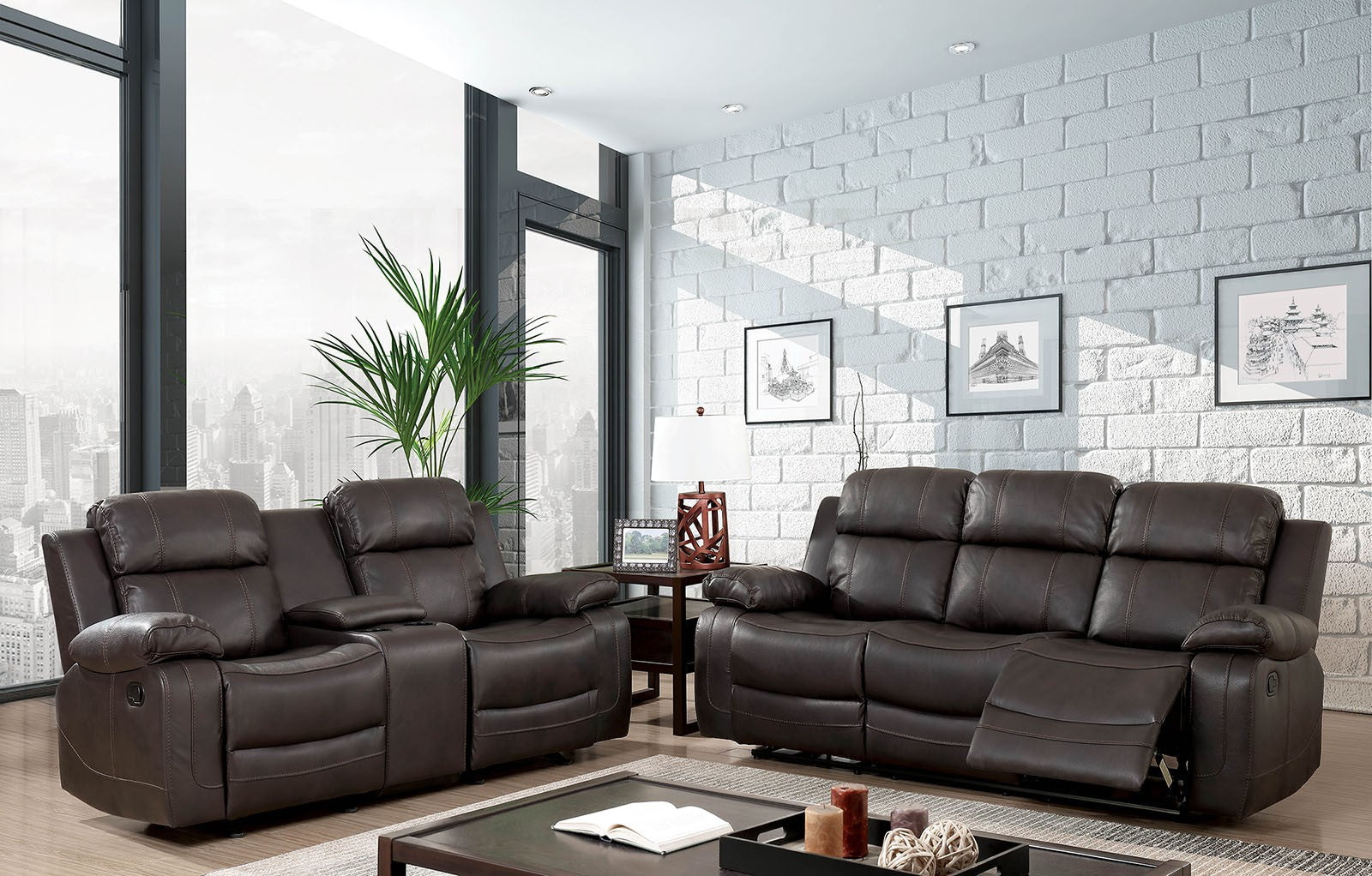 Pondera Brown Contemporary Sofa