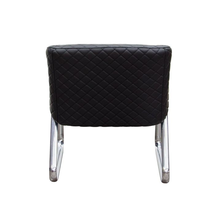 Retro Accent Chair with Diamond Tufted Quilt and Chrome Frame - Black