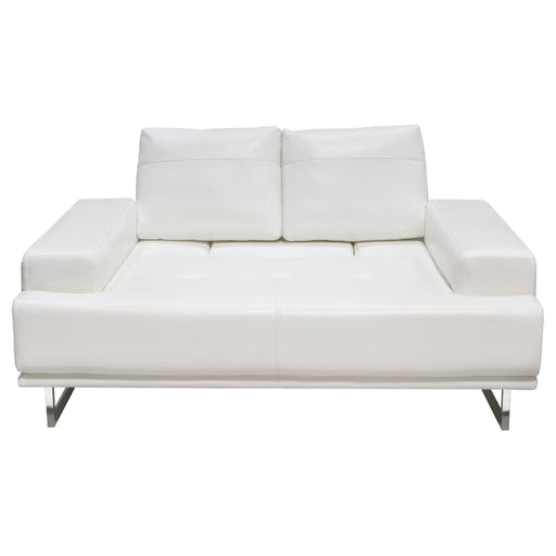 Russo Loveseat with Adjustable Seat Backs in White Air Leather - White