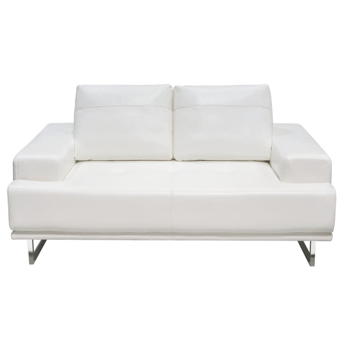 Russo Loveseat with Adjustable Seat Backs in White Air Leather ...