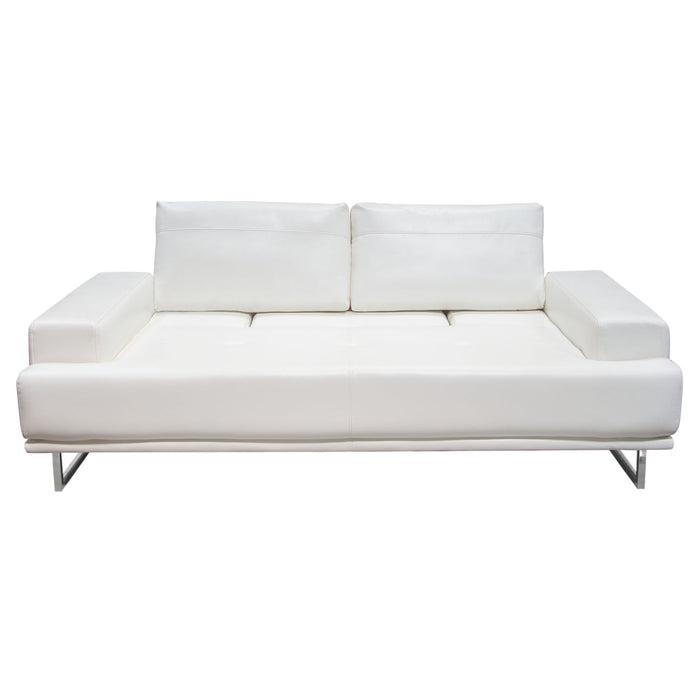 Russo Sofa with Adjustable Seat Backs in White Air Leather - White