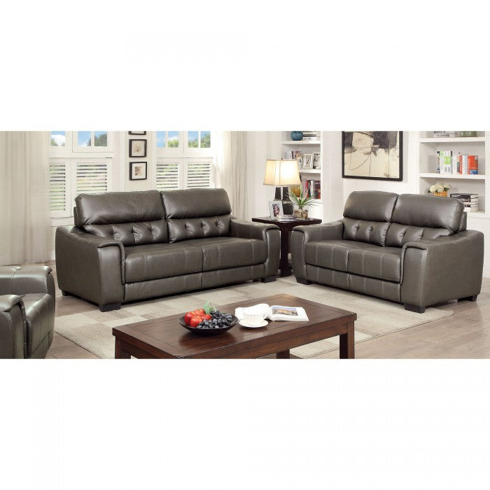Randa Leatherette Dark Gray Contemporary Sofa