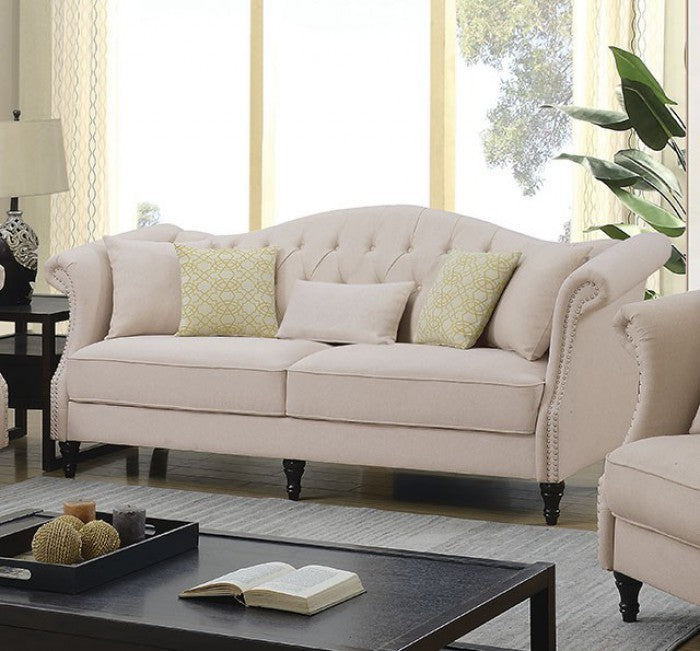 Rayna Linen Beige Solid Wood Transitional Sofa