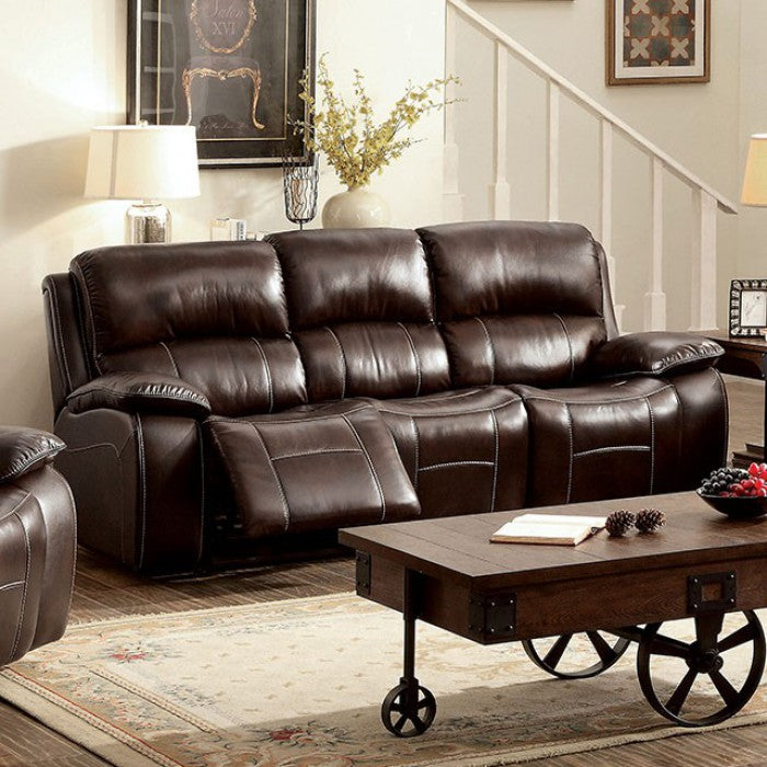 Ruth Top Grain Leather Match Brown Transitional Sofa — Sofa Shack