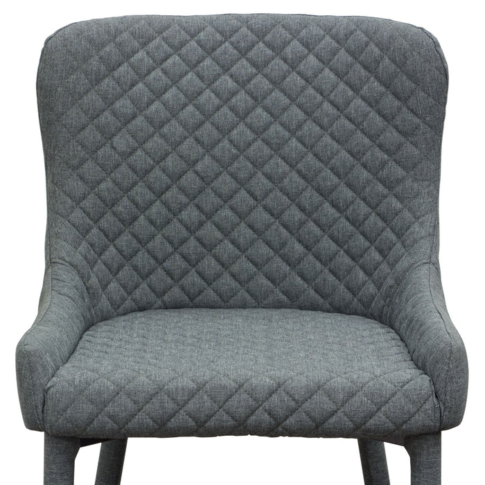 Savoy Accent Chair in Graphite Fabric with Metal Leg Set - Grey