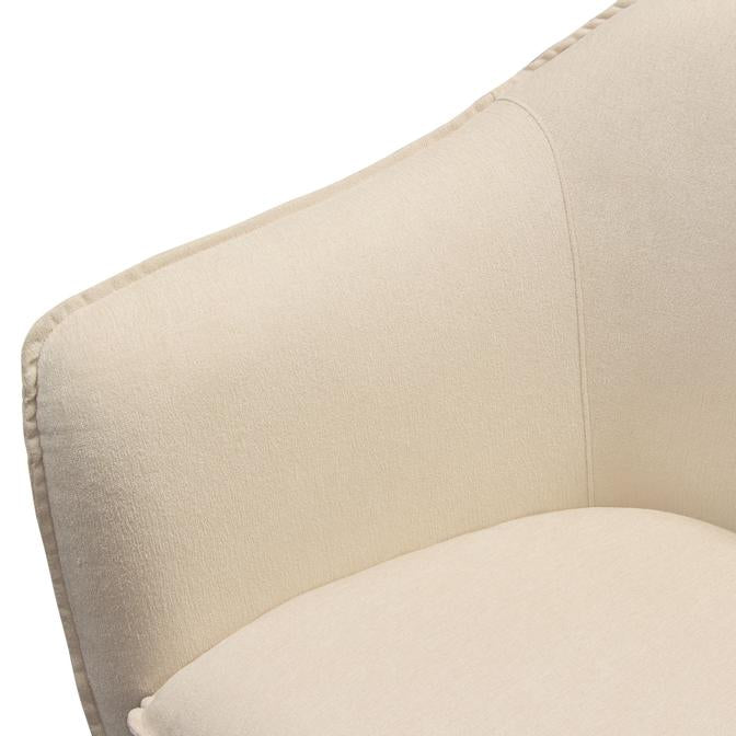 Status Accent Chair in Cream Fabric with Metal Leg - Cream