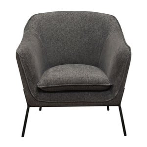 Status Accent Chair in Grey Fabric with Metal Leg - Grey