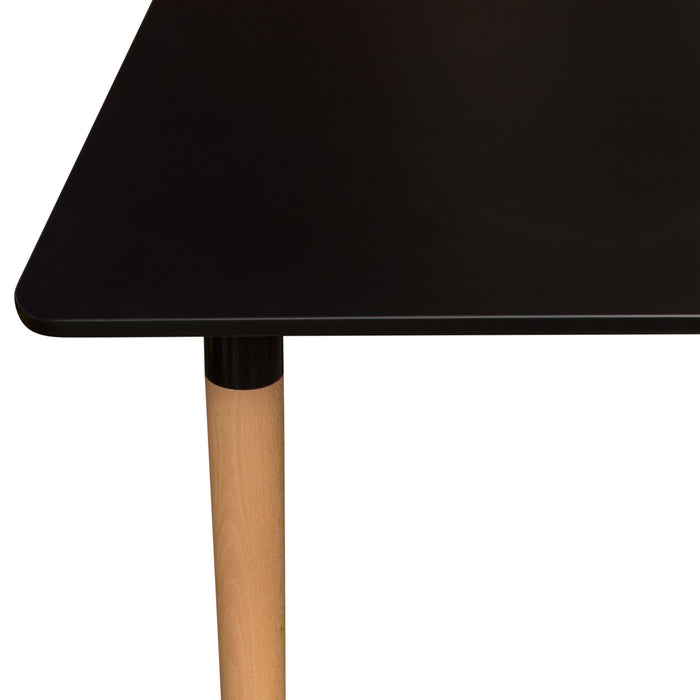 Tango Rectangular Dining Table with Black Top and Beech Legs - Black
