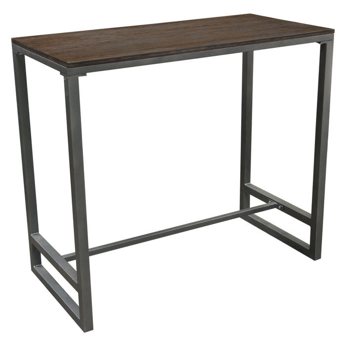 Tex Rectangular Bar Height Table with Dark Wood Top and Gun Metal Finished Metal Base - Brown