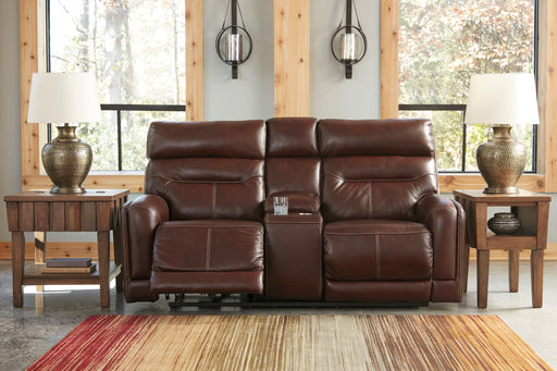 Signature Design Sessom Fabric Solid Contemporary Power Recliner Loveseat Console Adjuster Headrest