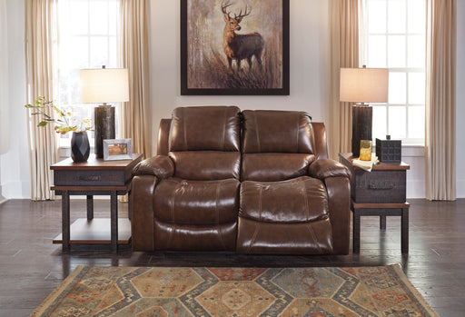Signature Design Rackingburg Leather Solid Contemporary Reclining Power Loveseat