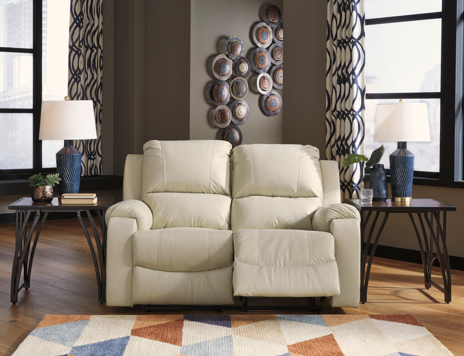 Signature Design Rackingburg Leather Solid Contemporary Reclining Loveseat