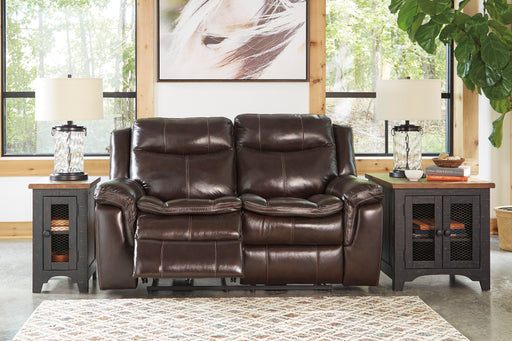Signature Design Lockesburg Leather Solid Contemporary Reclining Power Loveseat
