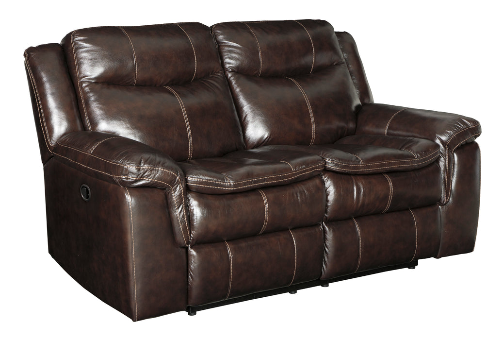 Signature Design Lockesburg Leather Solid Contemporary Reclining Loveseat