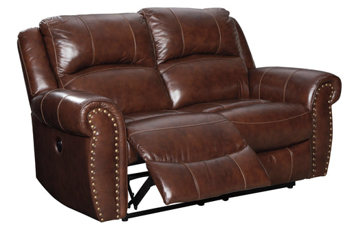 Signature Design Bingen Leather Solid Contemporary Reclining Power Loveseat