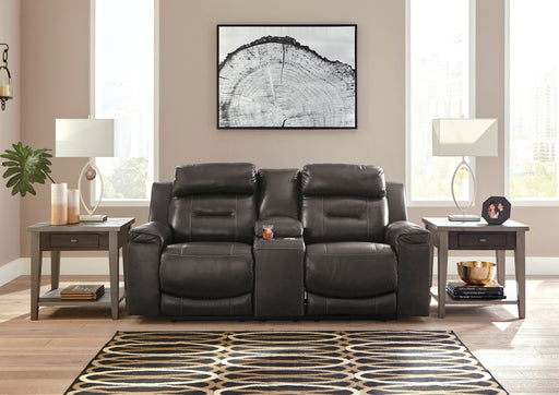 Signature Design Pomellato Leather Solid Contemporary Power Recliner Loveseat Console Adjuster Headrest