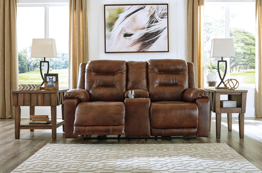 Signature Design Golstone Leather Solid Contemporary Power Recliner Loveseat Console Adjuster Headrest