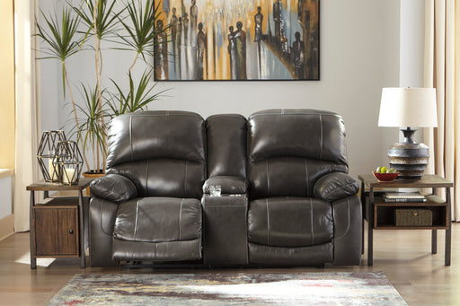 Signature Design Hallstrung Leather Solid Contemporary Power Recliner Loveseat Console Adjuster Headrest
